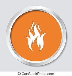 Fire warning symbol - White vector fire warning sign on...