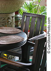 Balinese furniture - Balinese style restaurant with wooden...