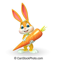 Easter Bunny with carrot - 3d rendered illustration of...