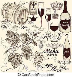 Collection of vector decorative han - Vector set of...