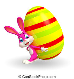 Cute Easter Bunny with big egg - 3d rendered illustration of...