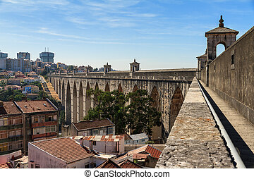 Aqueduct cityscape - Beautiful view from the Aguas Livres...