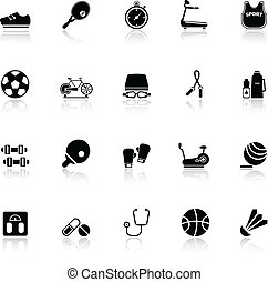 Fitness sport icons with reflect on white background, stock...