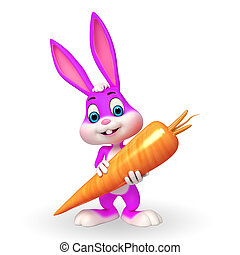 Cute Easter Bunny with carrot - 3d rendered illustration of...