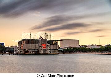 Lisbon Oceanarium - Long exposure sunset view of the Lisbon...