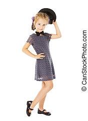 little girl portrait, kid well dressed in formal wear...