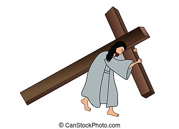 Jesus carrying the cross - Vector illustration of jesus...