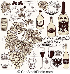 Vector set of vintage decorative elements vine and...