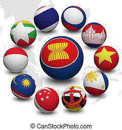 3D Ball of Asean Economic Community - 3D Ball with Flag of...