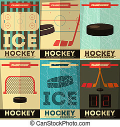 Hockey Posters Collection Placards Set in Flat Design Vector...