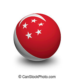 3D Ball with Flag of Singapore
