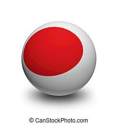 3D, bola, bandeira, Japão
