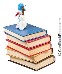 toy snowman stands on old books - felt soft toy snowman...