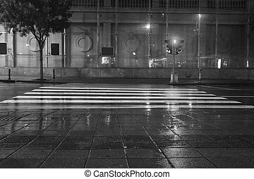 Long exposure traffic pedestrian crossing on rainy night -...