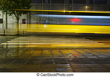Long exposure traffic on road and pedestrian crossing - Long...