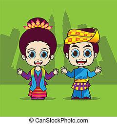 Cartoon Asean Malaysia eps 10 vector