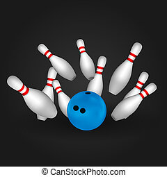 Bowl and bowling pins Bowling concept