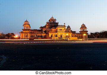 Night view Albert Hall museum Jaipur - Light streams from...