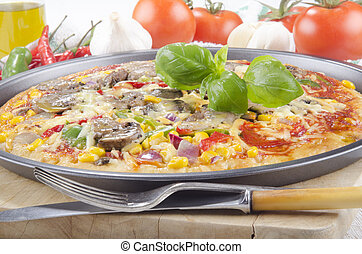 vegetarian pizza in a tray - italian home made vegetarian...