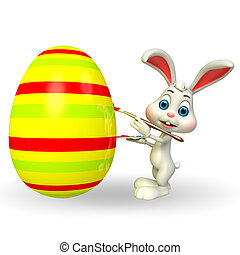 Easter bunny with big egg - 3d rendered illustration of...