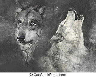 Wolfs, handmade illustration on grey background - Wolf,...