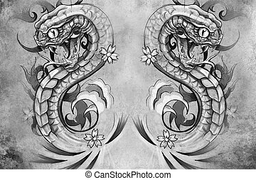 Tattoo design over grey background textured backdrop...