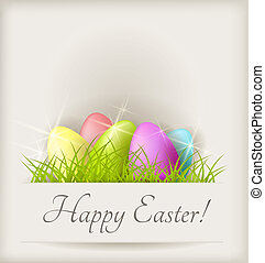 Easter background with eggs in grass - Easter shiny...