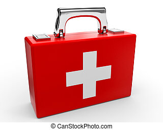 First aid kit - First aid kit on white background 3D...