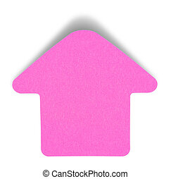 Pink sticky note isolated on white background, with shadow...