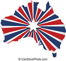 Vector Australia map. Sunburst Flag