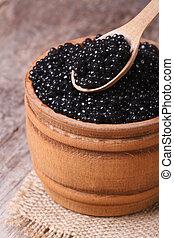 caviar, colher, pretas, esturjão