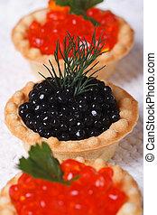 três, tartlets, salmão, caviar, esturjão, caviar