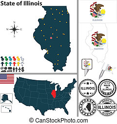 Map of state Illinois, USA - Vector set of Illinois state...