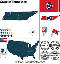 Map of state Tennessee, USA - Vector set of Tennessee state...