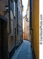 Old town in Stockholm, Sweden - Narrow alley in the distict...