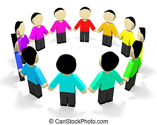 3D people. - Colored 3D people in circle. 3D illustration.