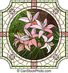 Mosaic of flower pink lilies - Vector mosaic with large...