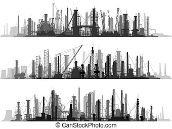 Line set industrial part of city - Vector set of horizontal...