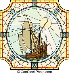 Mosaic of sailing ships. - Vector mosaic with large cells of...