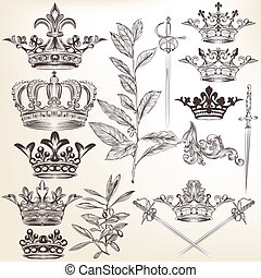 Collection of vector heraldic crown - Vector set of crowns...