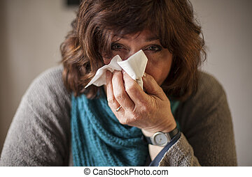 Feeling not too well - Ill woman with blue scarf and...