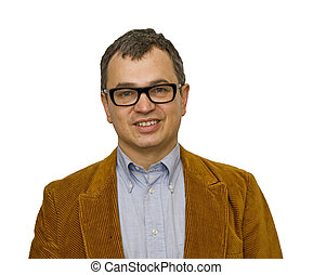 Man in Jacket and Glasses Smiling