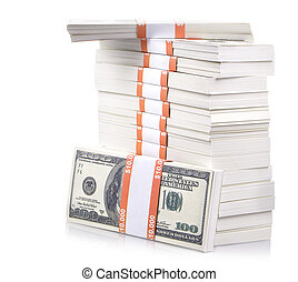 stack of dollars isolated on a white background