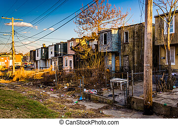 Abandoned row houses in Baltimore, Maryland. - Abandoned row...