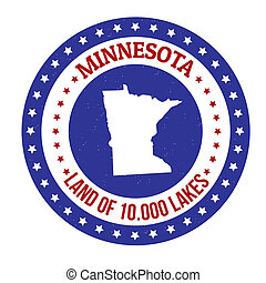 Minnesota stamp - Vintage stamp with text Land of 10000...
