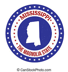 Mississippi stamp - Vintage stamp with text The Magnolia...