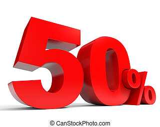 Red fifty percent off Discount 50 3D illustration