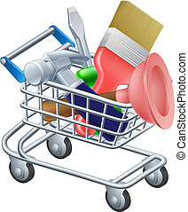 Tool trolley illustration of a shopping cart or trolley full...