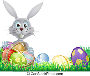 White Easter bunny and eggs - A cartoon white Easter bunny...