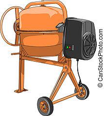 vector Cement mixer - vector orange concrete mixer isolated...